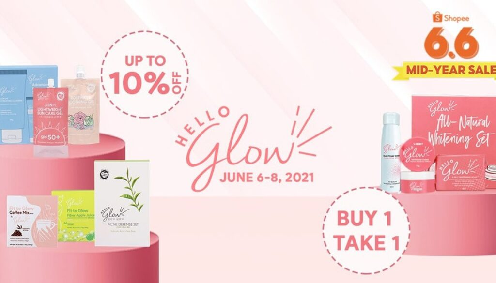 Get glowing and smooth skin with these Hello Glow skincare  sets at Shopee