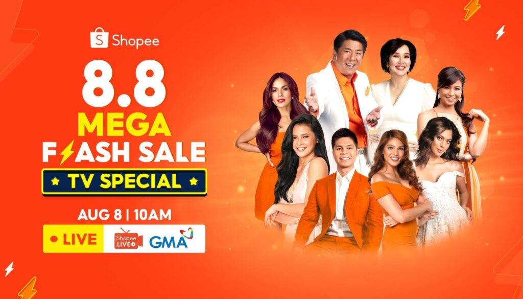 Tune in to the Shopee 8.8 Mega Flash Sale TV Special to win up to ₱8 Million Worth of Prizes