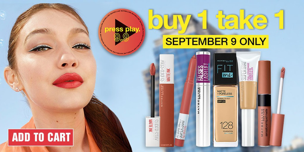 Score makeup kit essentials with these Buy 1 Take 1 deals from Maybelline on Shopee's 9.9 Super Shopping Day!